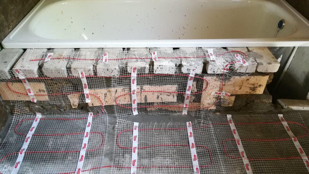 Пример монтажа мата СТН в ванной комнате, ванная